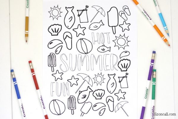 Free printable summer coloring page at lizoncall.com