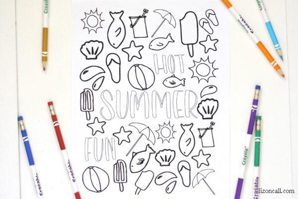 Free printable summer coloring page at lizoncall.com