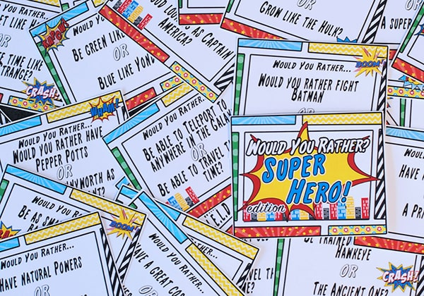Today we want to find out if you would rather be able to fly or be invisible? This free Would You Rather Marvel Super Hero Edition is perfect for any super activity, especially a road trip to Summer of Heroes at Disneyland! Get the free game on www.orsoshesays.com.