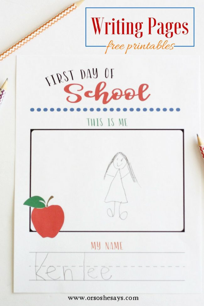 These first and last day of school writing pages will let you see how much your child's motor skills have grown during the school year. Get the printable at www.orsoshesays.com