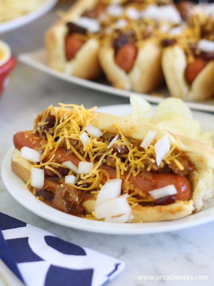 Whether watching the big game at home or at the stadium, these chili dogs would be a great addition to your tailgate spread.