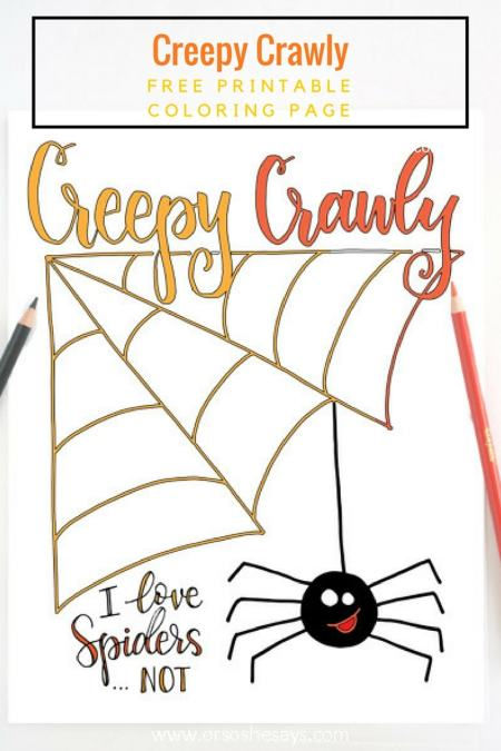 This free printable Halloween coloring page will give your kids the creepy crawlys and have them super excited for Halloween. Get it on the blog: www.orsoshesays.com
