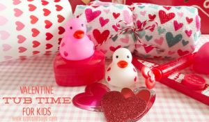 Kids of all ages will love a Valentine tub night! Set the mood with music, candles (maybe flameless?), and heart-themed tub toys and scrubbies! Get the free playlist and other ideas on the blog: www.orsoshesays.com