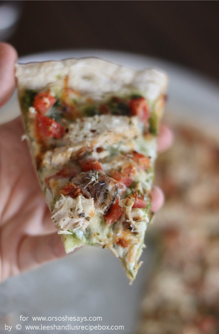 Chicken pesto pizza is a new favorite in our families, and is worth the little extra effort to make homemade dough. Get the recipe on www.orsoshesays.com.