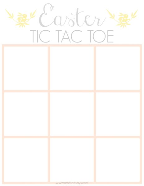 I'm sharing a free, quick, easy printable Easter tic-tac-toe game today that you can print out at home in a matter of minutes, and have a fun activity for your day's festivities. Get it at www.orsoshesays.com.
