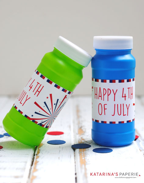 Free printable Fourth of July bubble wrappers