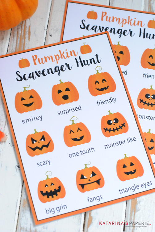 Free printable pumpkin scavenger hunt