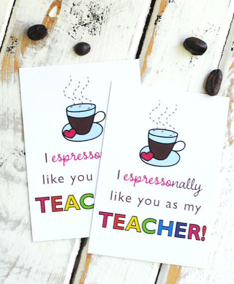 Free printable teacher appreciation coffee tag