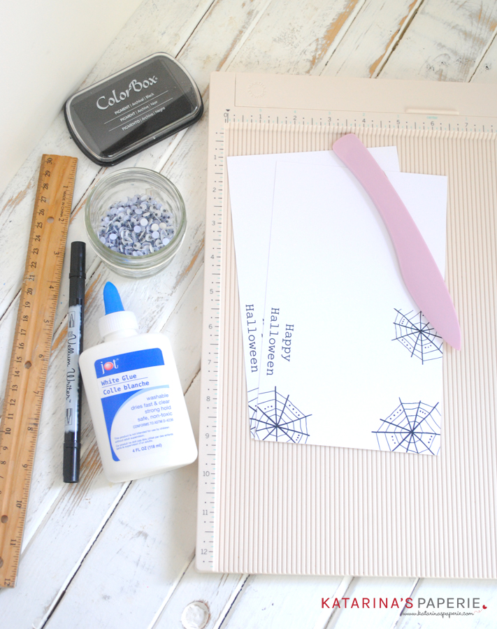 Supplies you need to make your handmade spider Halloween card