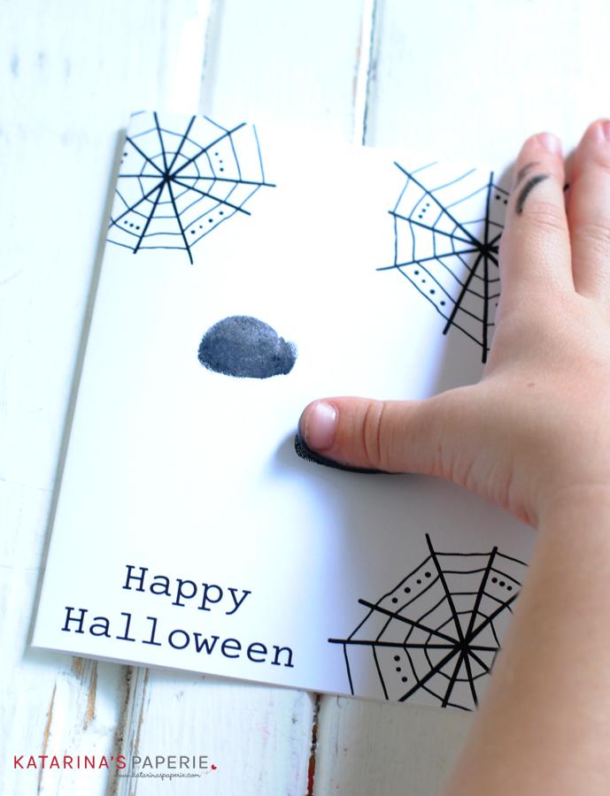 Handmade spider Halloween card