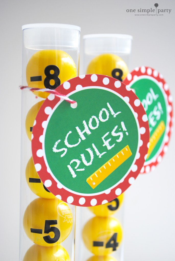 Gumball rulers back to school craft with free printable tag