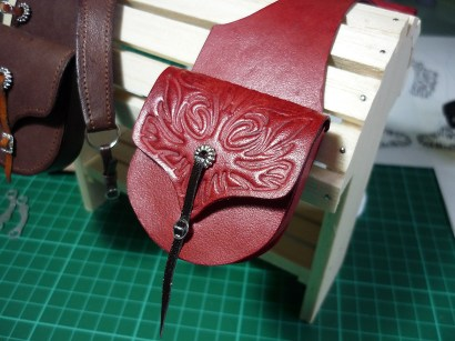 Saddlebags with 3D printed stamp detail on the flap