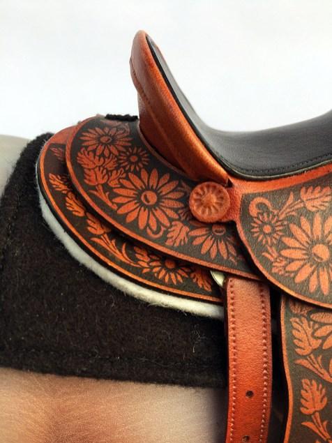 laser etched 1/6 scale saddle detail