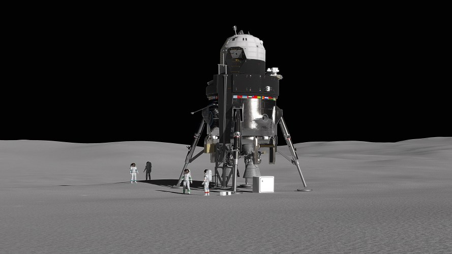 Lockheed Martin's concept for a crewed lunar lander is a single stage, fully reusable system that incorporates many of Orion's flight-proven technologies and systems. The lander would accommodate a crew of four and 2000 lbs. of payload on the surface for up to two weeks while returning to the Gateway without maintenance or refueling on the surface.