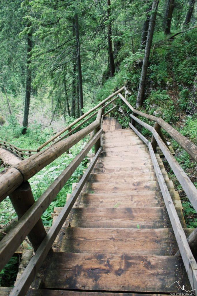 Drewniane schody powyżej Polany Pisanej, Dolina Kościeliska