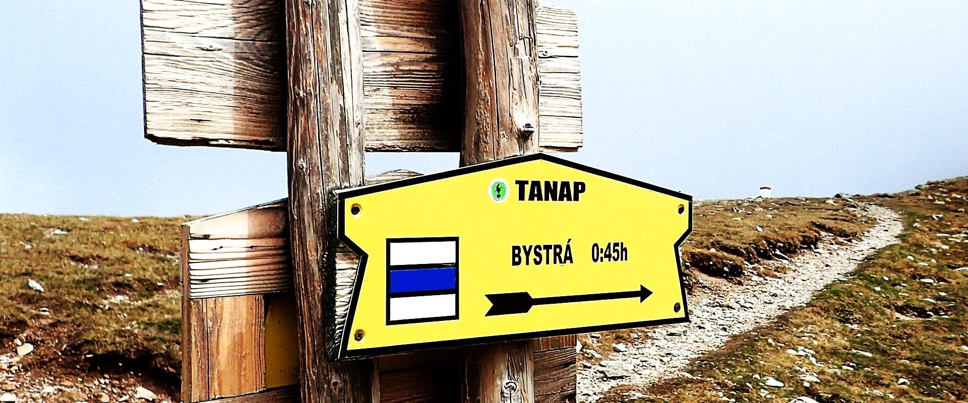 Drogowskaz na Bystrą w Tatrach Zachodnich
