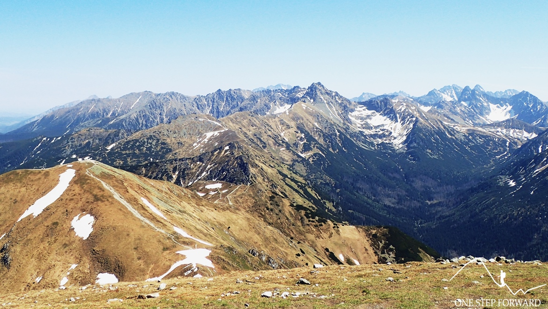 Panorama ze szczytu. W dole widoczna Kopa Kondracka (2002 m n.p.m.)