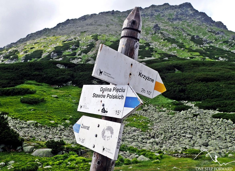Żółty szlak odbija na Przełęcz Krzyżne (2112 m n.p.m.).