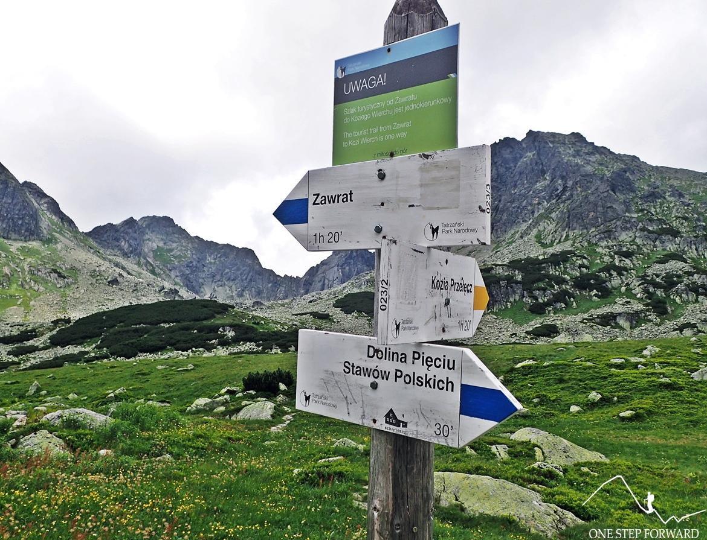 Żółty szlak na Kozią Przełęcz. W tle Pusta Dolinka