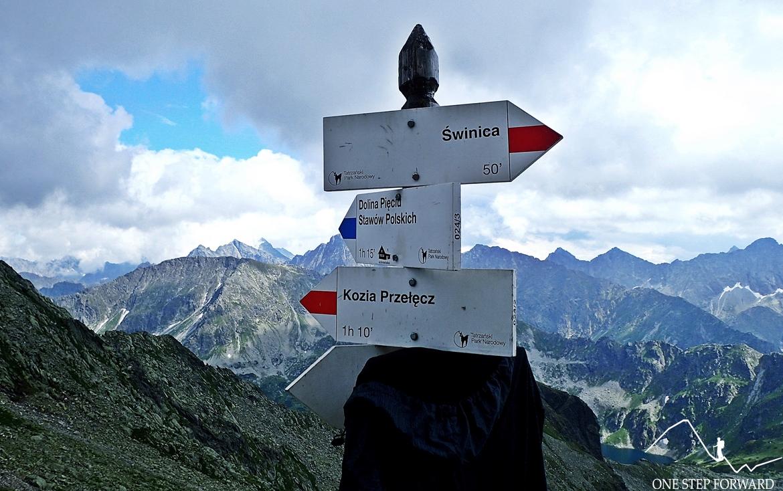 W lewo szlak wiedzie na słynną Orlą Perć (odcinek od Zawratu do Koziego Wierchu jest jednokierunkowy)