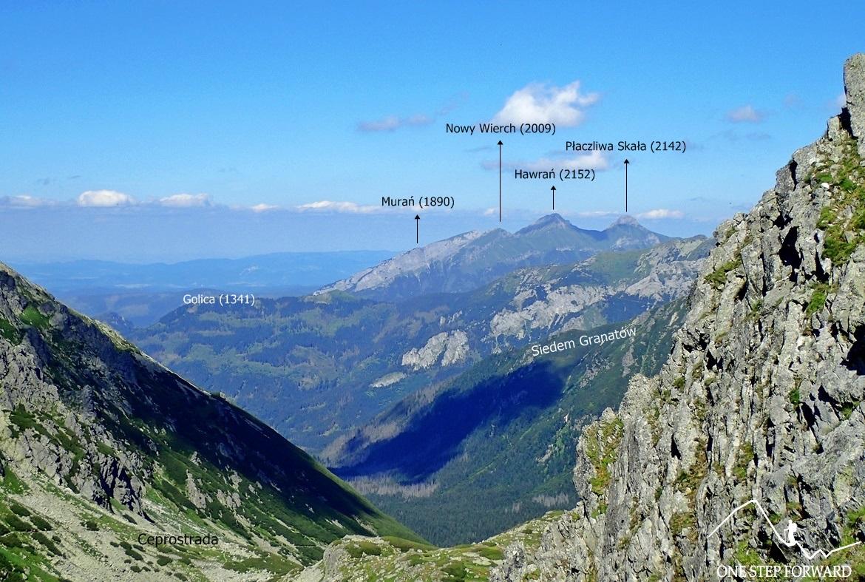 Wrota Chałubińskiego - panorama na stronę polską. W oddali Tatry Bielskie