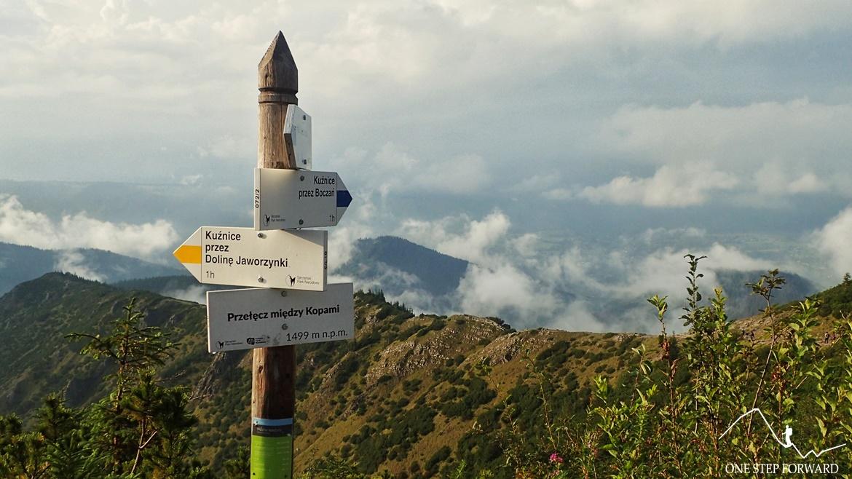 Przełęcz między Kopami (1499 m n.p.m.) - drogowskaz