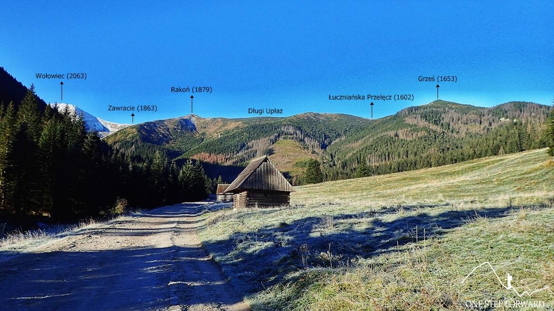 Dolina Chochołowska - widok na Grzesia, Rakoń i Wołowiec