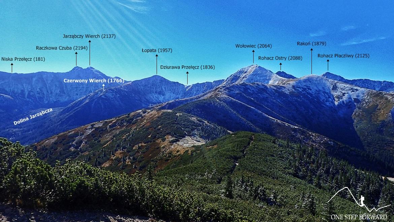 Grześ w Tatrach Zachodnich - panorama ze szczytu