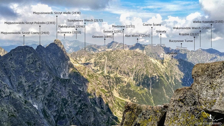 Rysy - panorama na Mięguszowieckie Szczyty i Orlą Perć