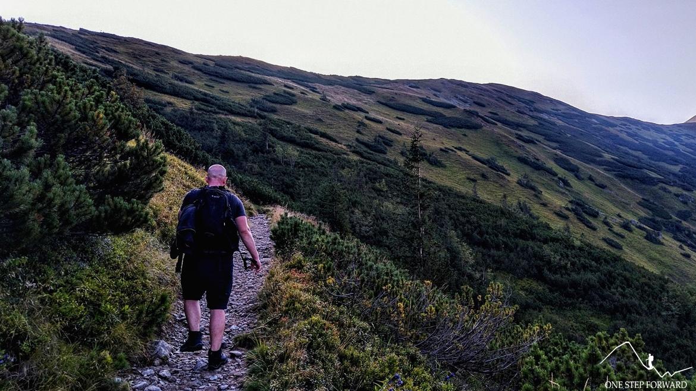 Zielony szlak prowadzący na Przełęcz Zabrat (Sedlo Zábrať)