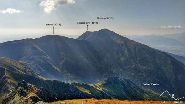 Trzy Kopy - panorama na Baraniec i Dolinę Żarską