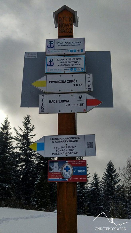Rozwidlenie szlaków na Niemcowej w Beskidzie Sądeckim
