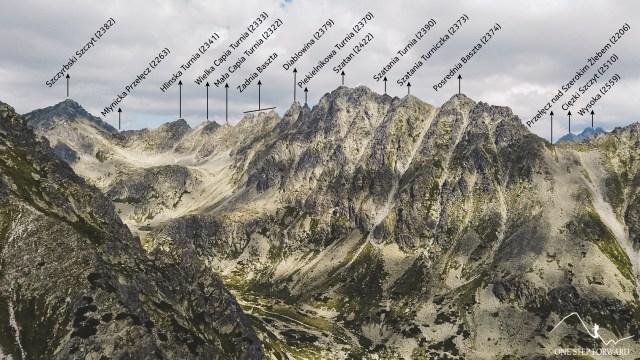 Skrajne Solisko - panorama na Grań Baszt i Wysoką