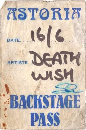 Death Wish Backstage pass