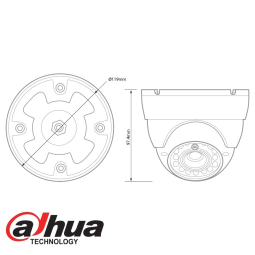 Dahua HDCVI 720p IR Dome Camera drawing