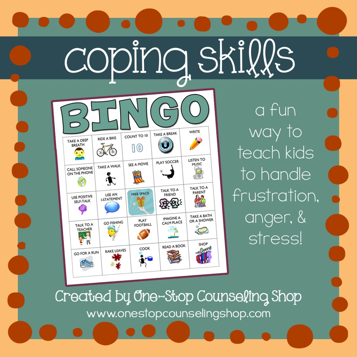 new ish product anger and coping skills bingo game one stop counseling shop. Black Bedroom Furniture Sets. Home Design Ideas