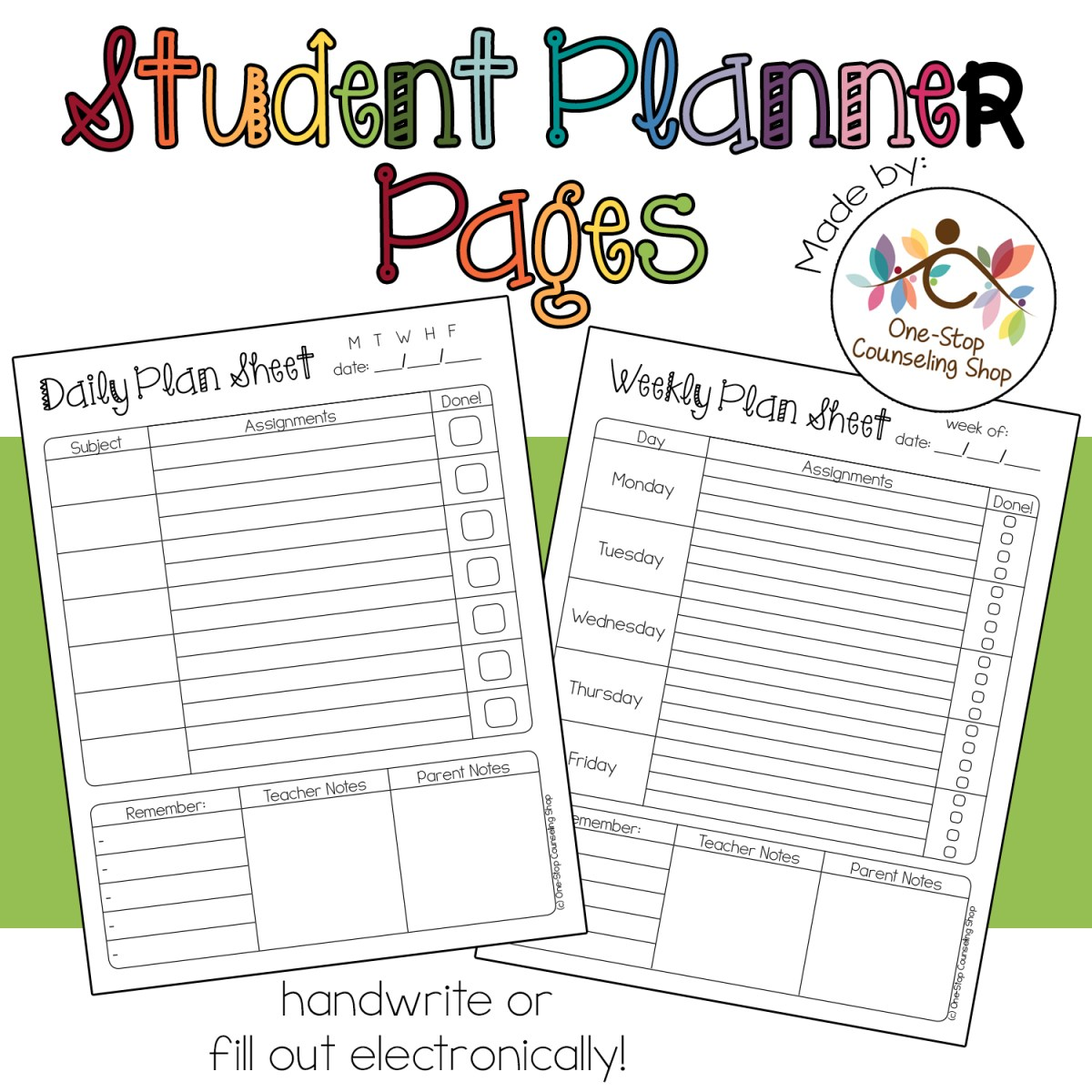 new product student planner pages