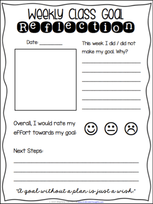 Weekly Class Goals Reflection Page