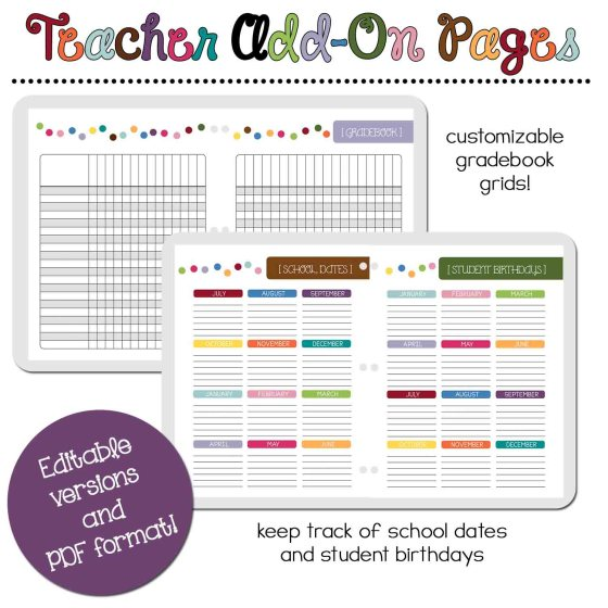 Teacher Add-On Pages