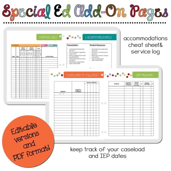 Special Education Add-On Pages