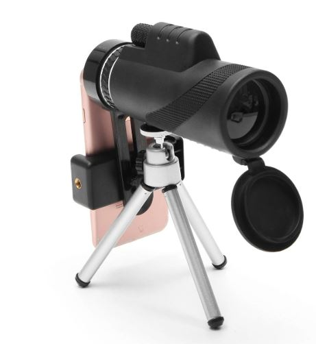 Side view of 40x Zoom Camera Lens on tripod with smartphone attached.