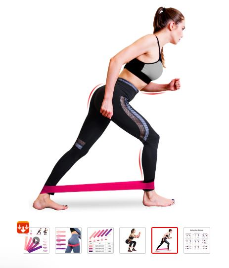 Lady doing long-stride resistance band exercise