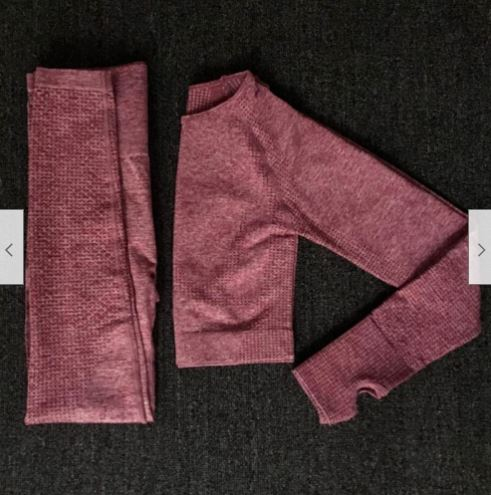 Pink yoga pants and top folded