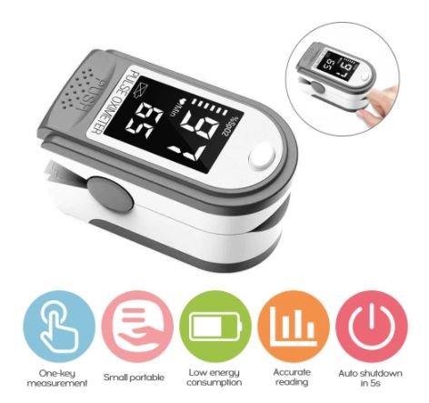 A white oximeter with tab descriptions