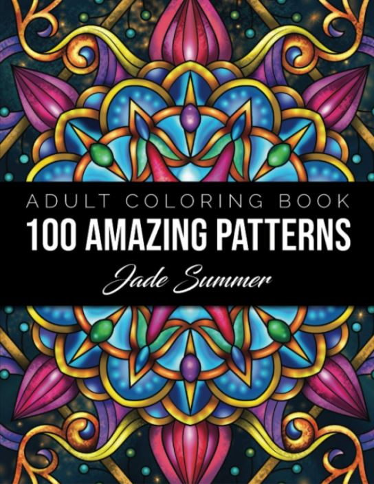 Adult Coloring Book Cover Image for 100 Amazing Patterns