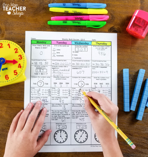 This spiral Math Review system is the most effective resource in my classroom. You can use it for Math Homework, Morning Work, Warm-Ups, or just a Daily Math Review. The weekly math quizzes are perfect for collecting data and grades. Now available for 1st, 2nd, 3rd, 4th, 5th, 6th, 7th, 8th Grade, and High School math.