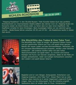 Blockflöte des Todes, wohngemeinschaft Köln, planbar events, shuttlebus party