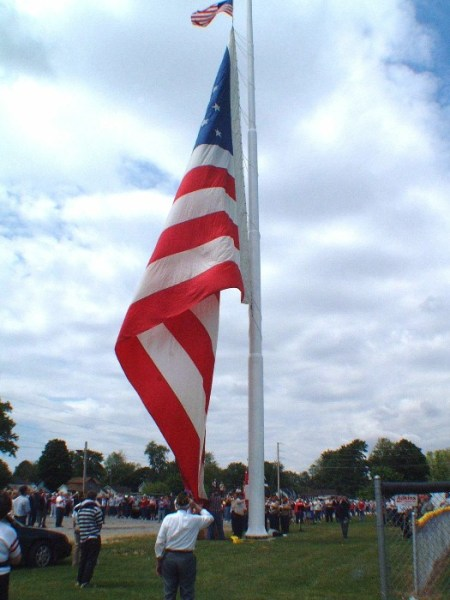 America's largest free-flying flag? check out standard-sized flag on top