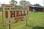 sign in front of U. S. Weather Station in Hell, Michigan