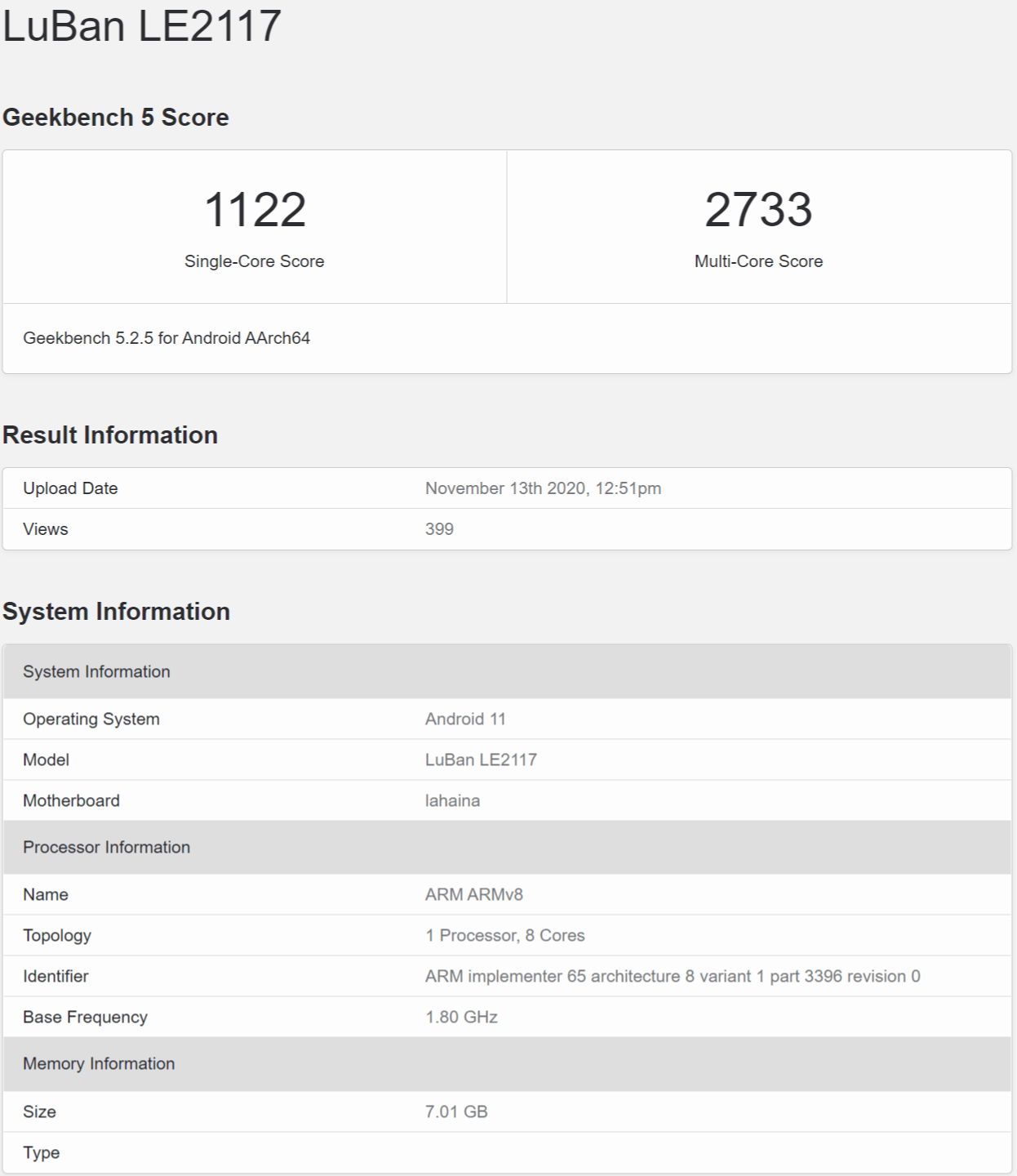 LuBan LE2117 - Geekbench Browser
